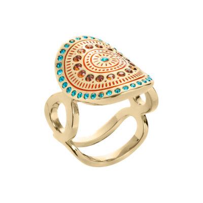 MOUNIR Ring, vergoldet, türkis farbig, dunkel topas farbig