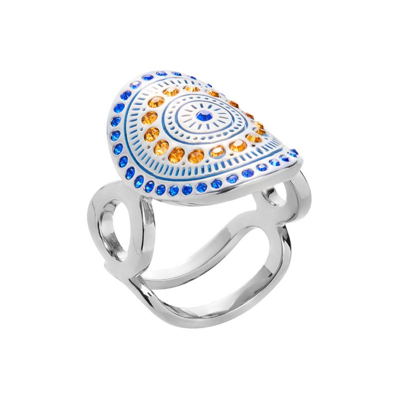 MOUNIR Ring, rhodiniert, blau, topas farbig