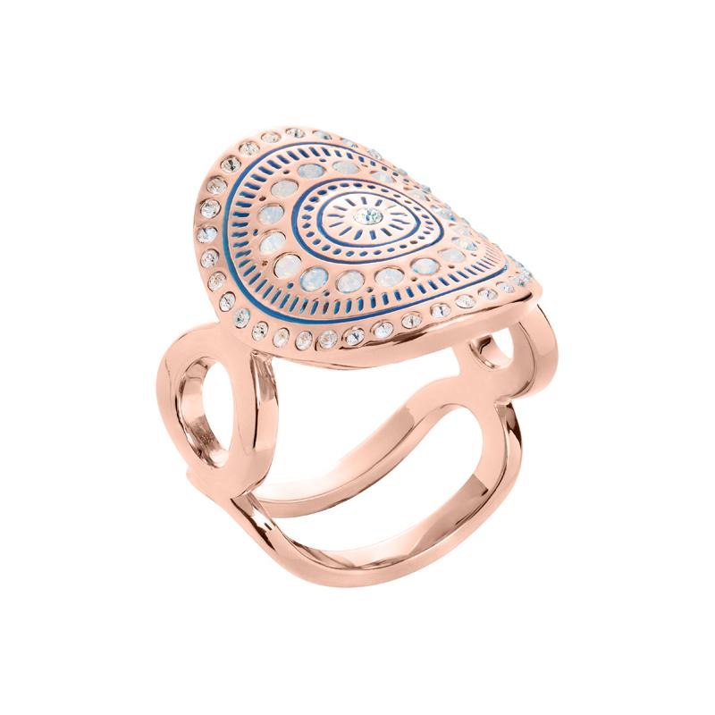 MOUNIR Ring, rosè vergoldet, kristall-farbig, milch-opal farbig