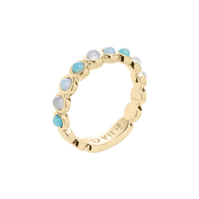AZURE Ring, vergoldet, hell türkis farbig, multi