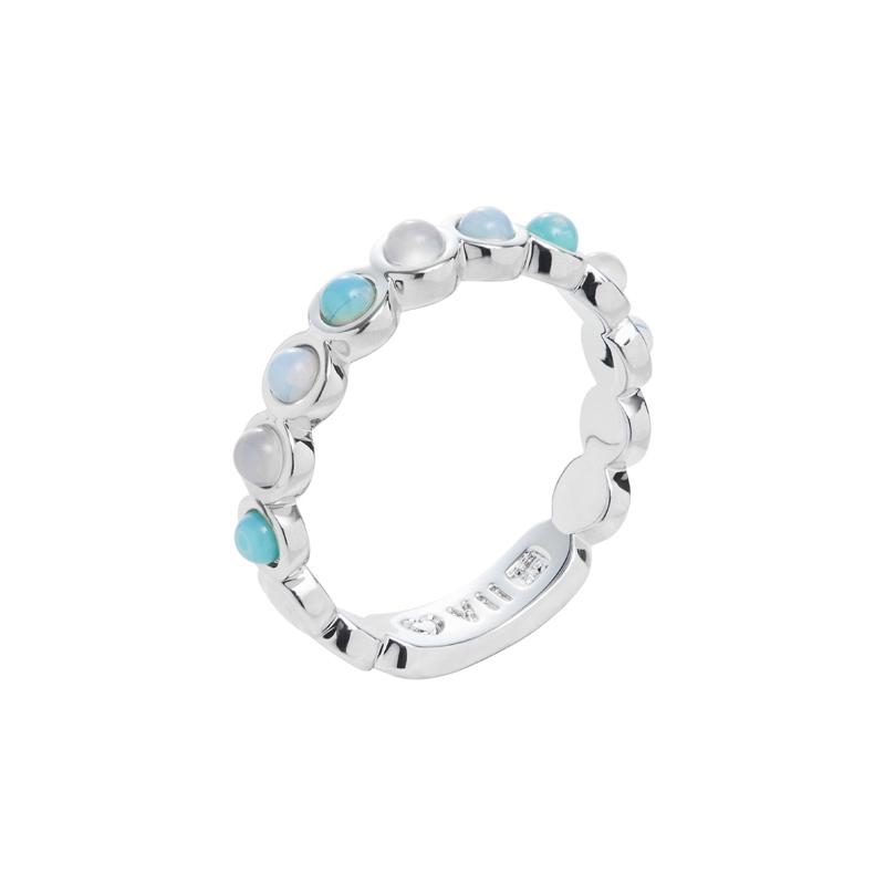 AZURE Ring, rhodiniert, hell türkis farbig, multi