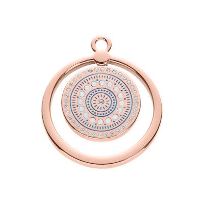 MOUNIR Anhänger, rosè vergoldet, kristall-farbig, milch-opal farbig