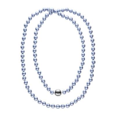 DEEP PEARL Perlenkette, rhodiniert, blau-grau