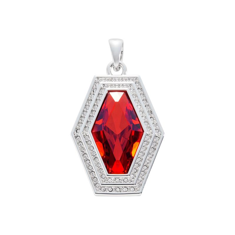 LIVA Anhänger, rhodiniert, rot, kristall-farbig
