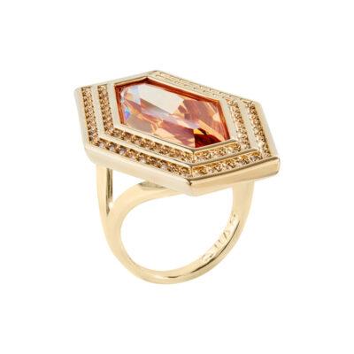 LIVA Ring, vergoldet, topas farbig, gold farbig