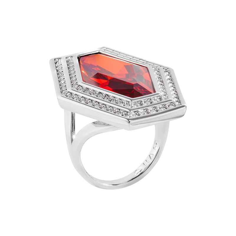 LIVA Ring, rhodiniert, rot, kristall-farbig