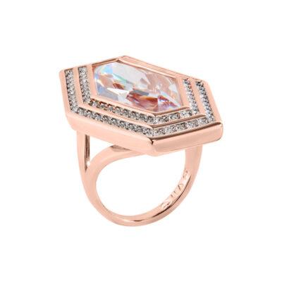 LIVA Ring, rosè vergoldet, Zirkonia [synthetischer Stein], kristall-farbig