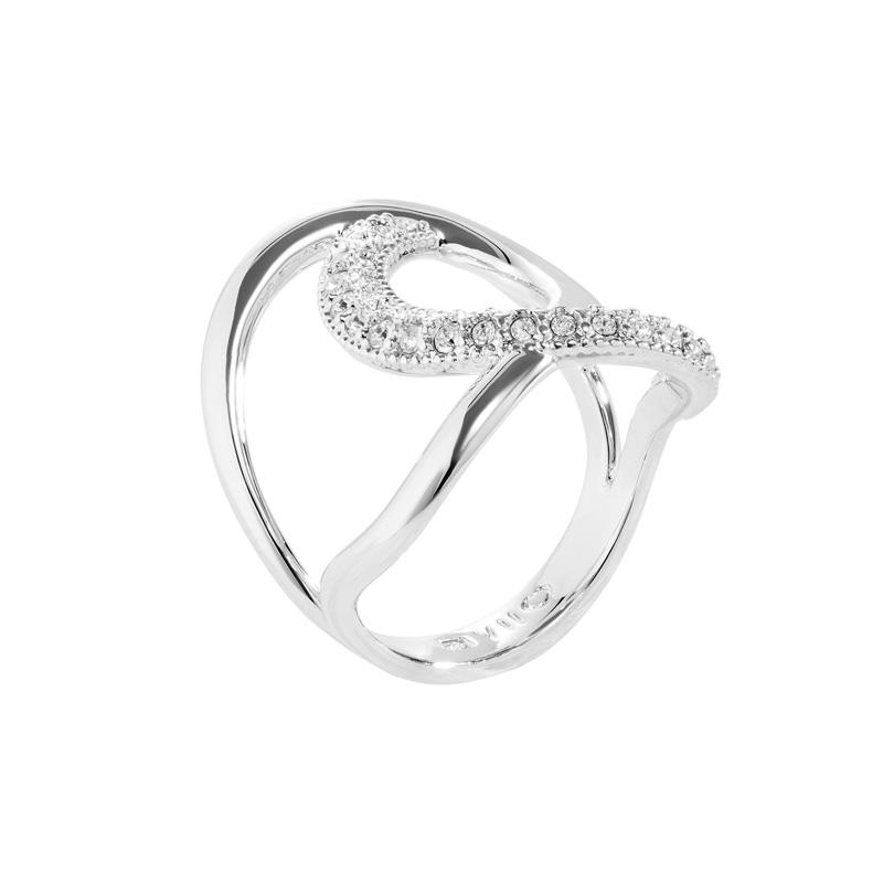TALIA Ring, rhodiniert, kristall-farbig