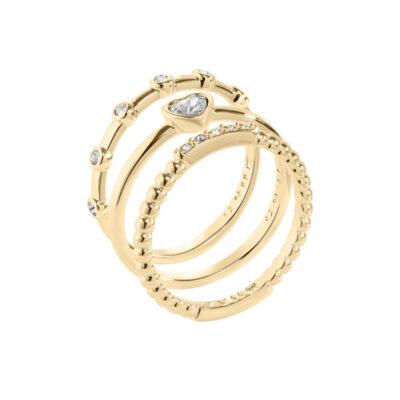 TRUE LOVE Ring, vergoldet, kristall-farbig
