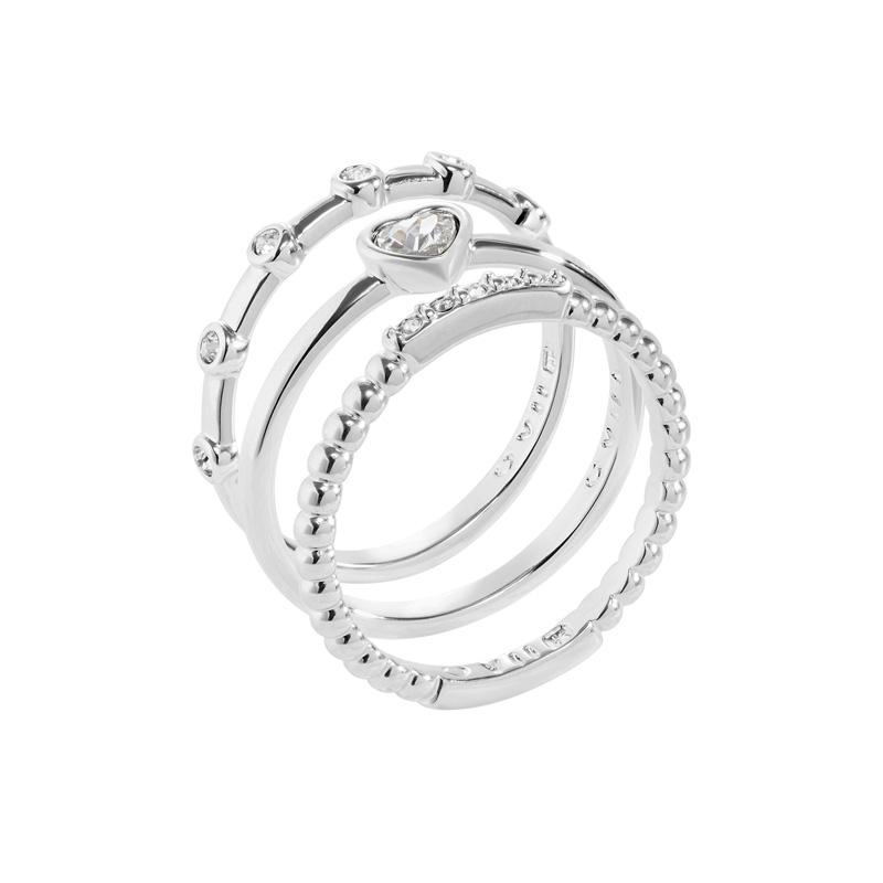 TRUE LOVE Ring, rhodiniert, kristall-farbig