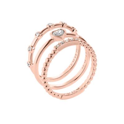 TRUE LOVE Ring, rosè vergoldet, kristall-farbig