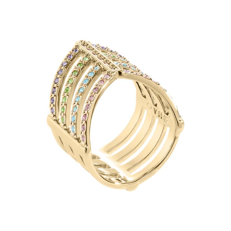 AMAYA Ring, vergoldet, multicolor