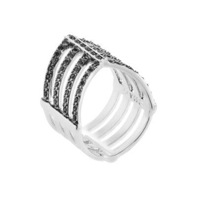 AMAYA Ring, rhodiniert, schwarz