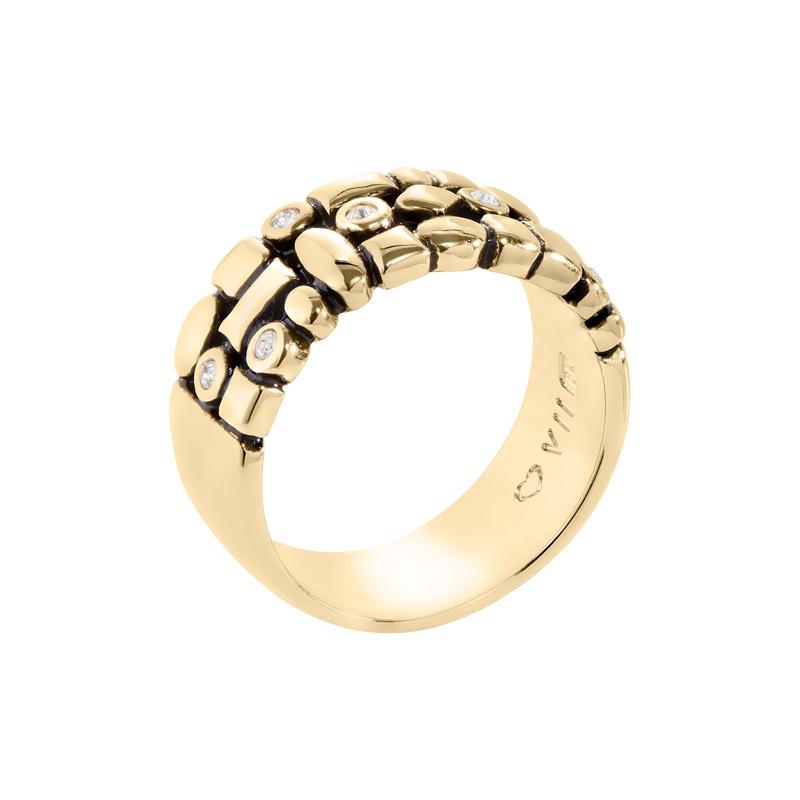 TRACE Ring, antik vergoldet, kristall-farbig