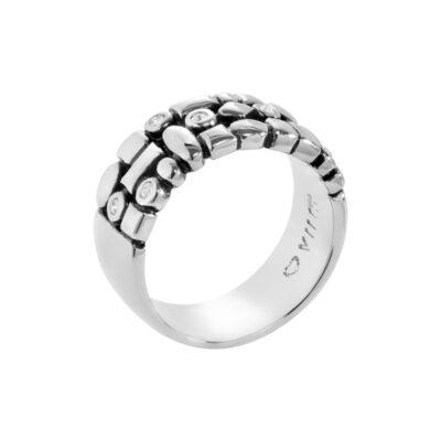 TRACE Ring, antik rhodiniert, kristall-farbig