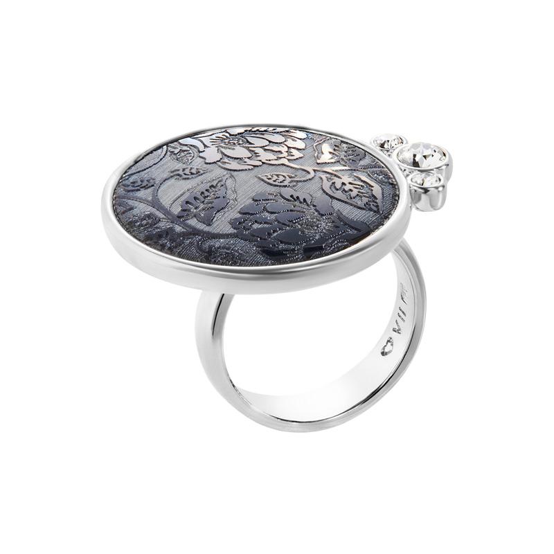 ODINA Ring, rhodiniert, multi-grau, dunkelgrau