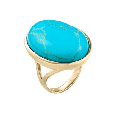 AZURE Ring, rhodiniert, türkis farbig